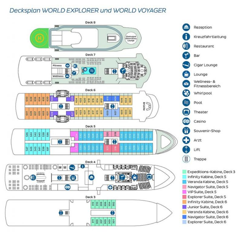 nicko cruises World Explorer Deckplan