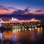 HM, Harmony of the Seas, Labadee, Haiti, Private Destination, Drone, Aerial, Ship, Night Time, Lights on ship, Profile starboard side of ship, Reflections, dramatic sunset, evening, colorful,