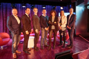 AIDA Crusies AIDA Entertainment 2017: v.l.n.r. Borris Brandt, Director AIDA Entertainment, Mentalist Harry Sher, Nadine Krämer, Sängerin der Band Johna, Dr. Pedro Gonzales, Birgit Schrowange, Steffi Heinicke, VP Guest Service, Hansjörg Kunze, Vice President Communication & Sustainability.